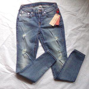 True Religion Curvy Skinny Distressed Jeans 27